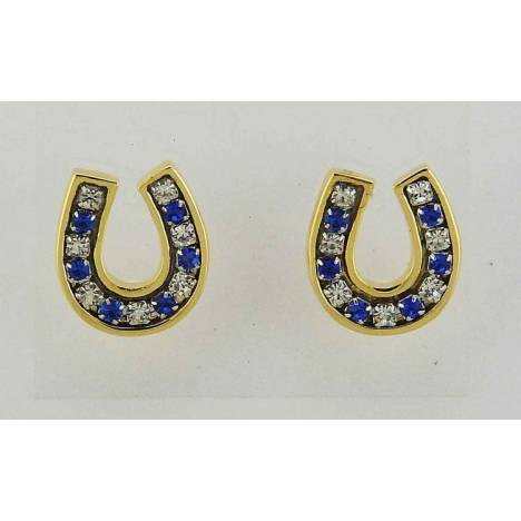 Finishing Touch Crystal Channel Horseshoe Earrings - Sapphire