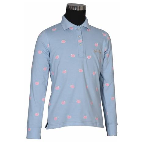 Equine Couture Whale Long Sleeve Polo Shirt - Kids