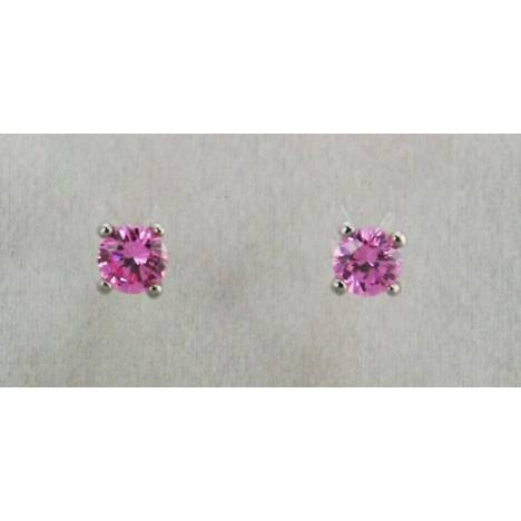 Finishing Touch 6.5 mm CZ Stud Earrings - Pink