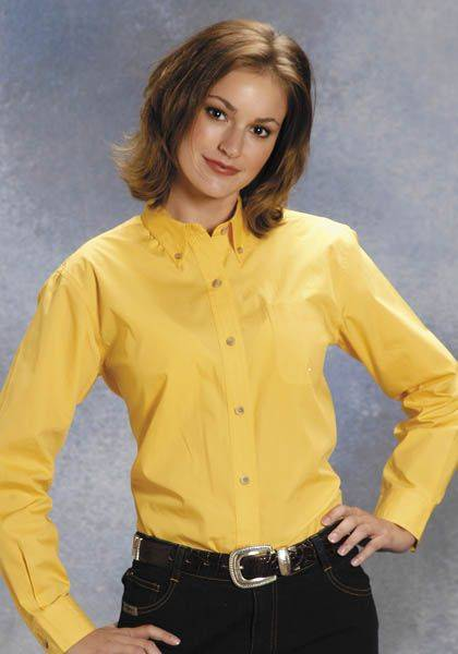 Roper Button Down Collar Western Shirt - Ladies, Yellow