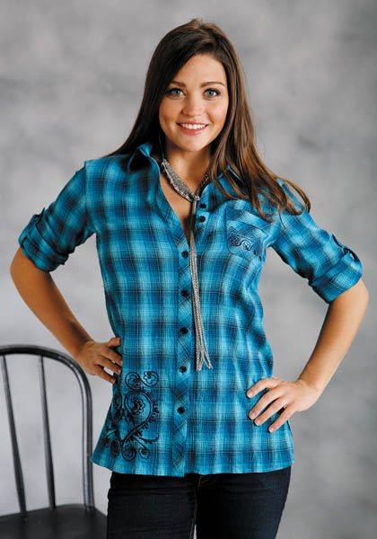 Roper Boyfriend Shirt - Ladies, Turquoise Plaid