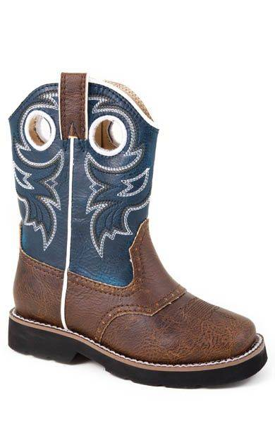 Roper Faux Leather Saddle Vamp Boots - Toddler, Brown