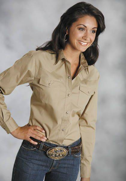 Roper Poplin Shirt - Ladies, Long Sleeve, Khaki