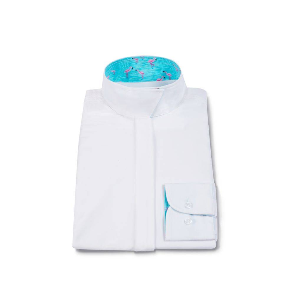 RJ Classics Prestige Wrap Collar Shirt - Ladies, White/Flamingo