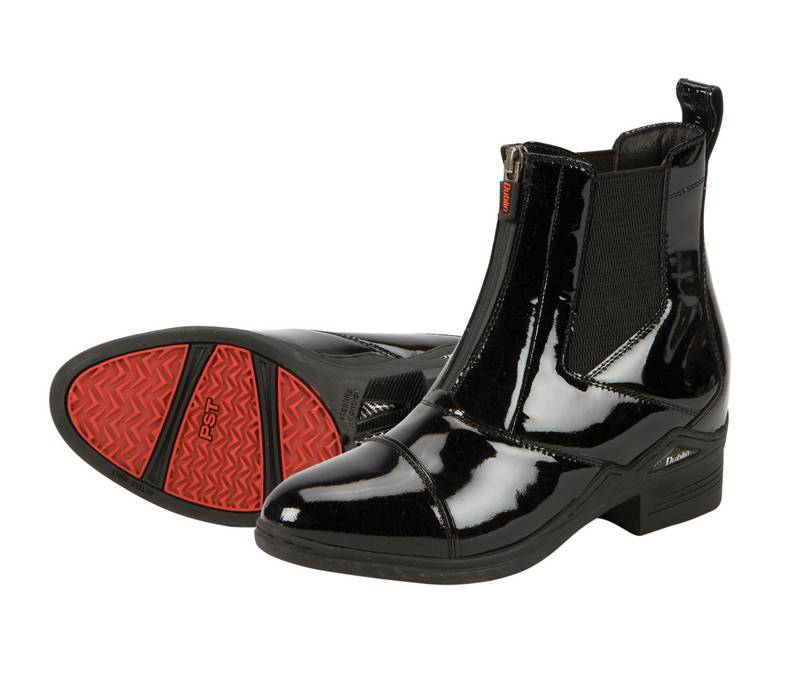Dublin Intensity Zip Patent Leather Paddck Boots - Ladies, Black Patent