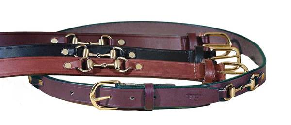 TORY LEATHER 1'' Snaffle Bit Belt with Brass Buckle