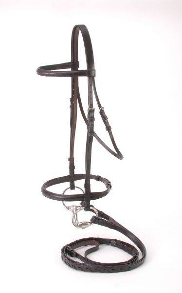 EquiRoyal Premium Leather Raised Snaffle Bridle Fancy Stitched With Laced Reins Cob