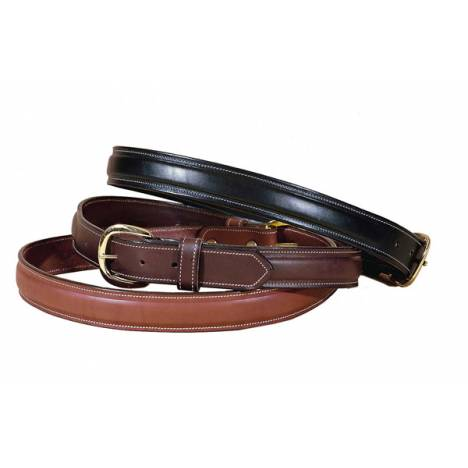 TORY LEATHER 1 1/4'' Raised Leather Belt with Solid Brass Buckle