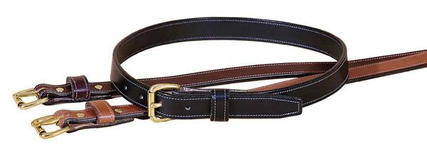 TORY LEATHER 1'' Stitched Belt with Brass Buckle