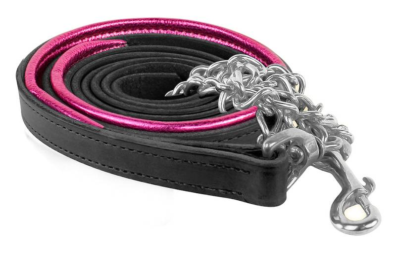Perris Metallic Leather Lead w/Chain