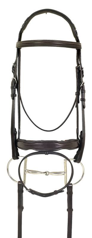 Ovation Shaped Nose Comfort Crown Padded Bridle - Flash, Rubber Covered Reins