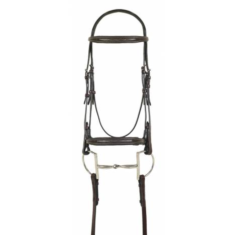 Ovation Square Raised Fancy Stitched Bridle - Laced Reins