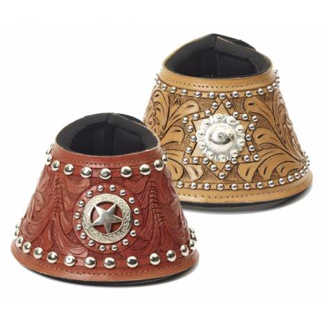 Mesquite Canyon Leather Tooled Concho No Turn Bell Boots