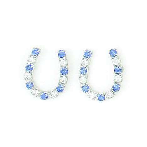 Finishing Touch Crystal Horseshoe Earrings - Sapphire