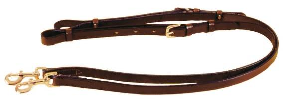 TORY LEATHER 3/4'' Adjustable Leather Side Reins - Nickel Hardware