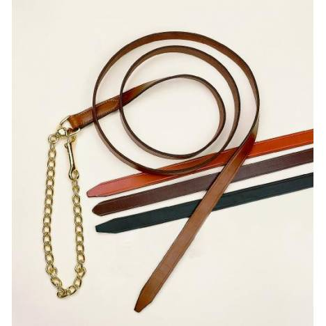 TORY LEATHER Single Ply Lead with Brass Plated Chain