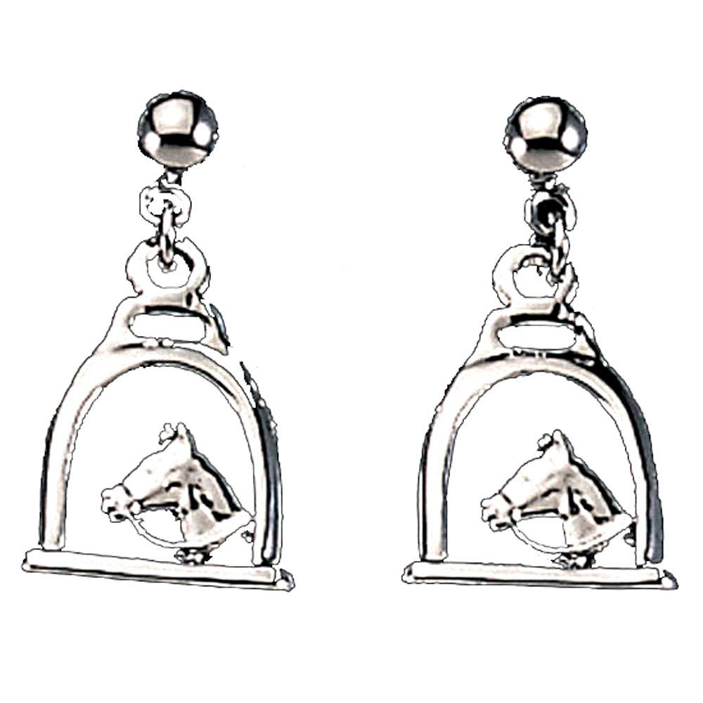 Exselle Stirrup with Horse Head Earrings - Gold Plate