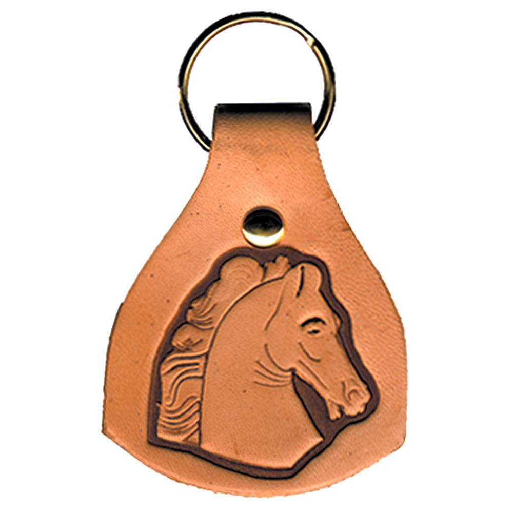 Leather Stamped Horse Head Key Fob