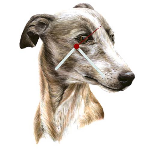 Whippet Head Shaped Clock