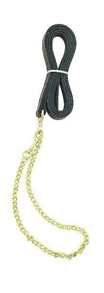 Perris Leather Collection Leather Lead with Fine 30in Chain
