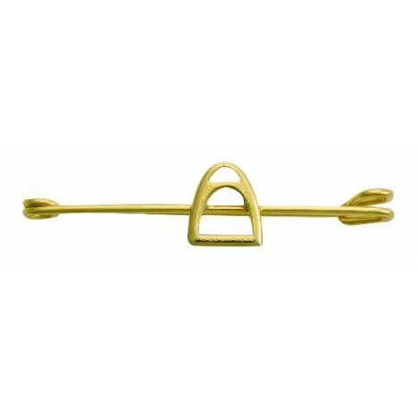 Perris Leather Jewelry Stirrup Stock Pin Gold