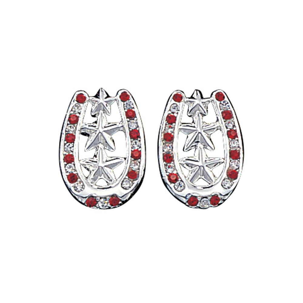 Montana Silversmiths Horseshoe Earrings with Star Center and Rhinestones