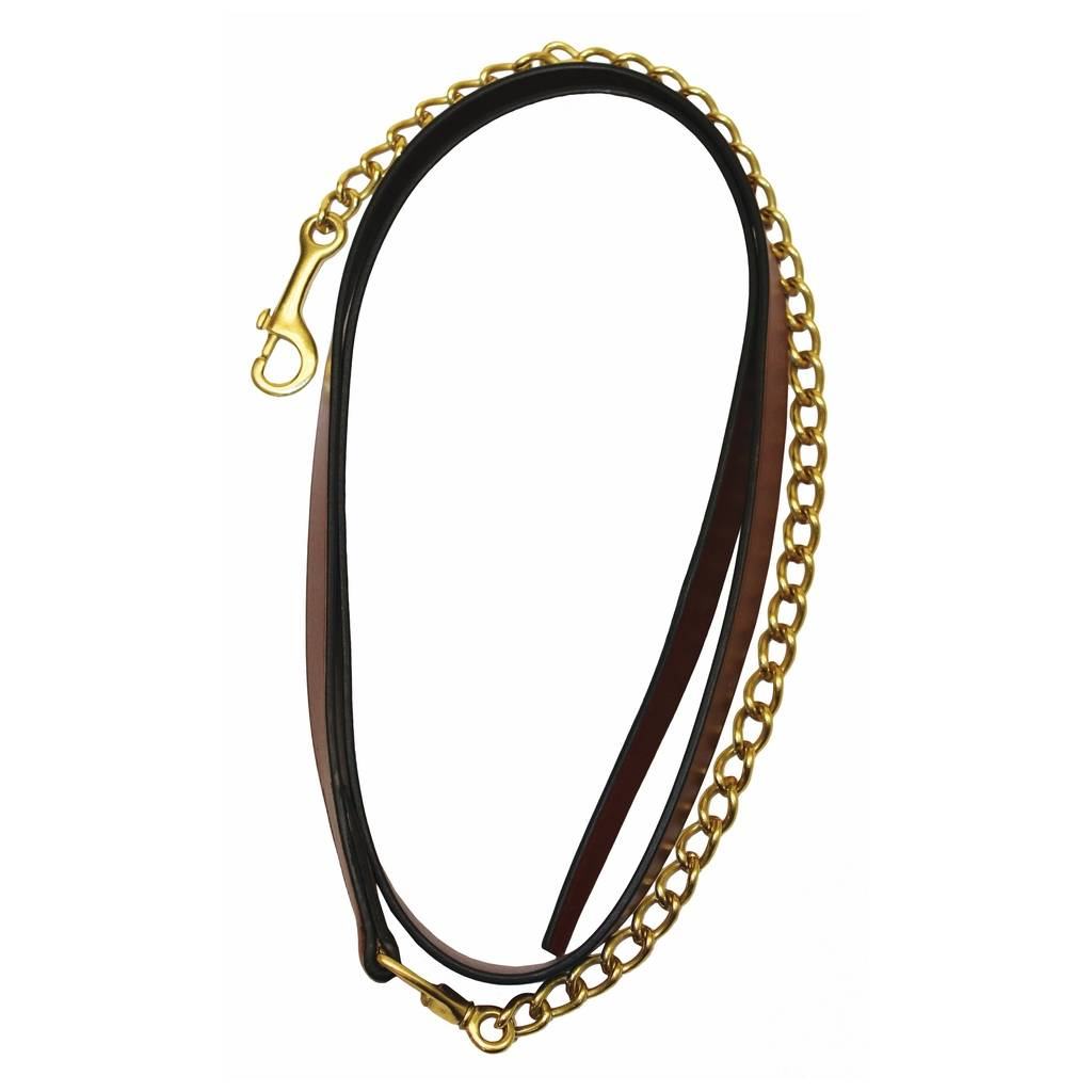 Henri de Rivel Collection 6 Ft. Leather Lead with Solid Brass Chain