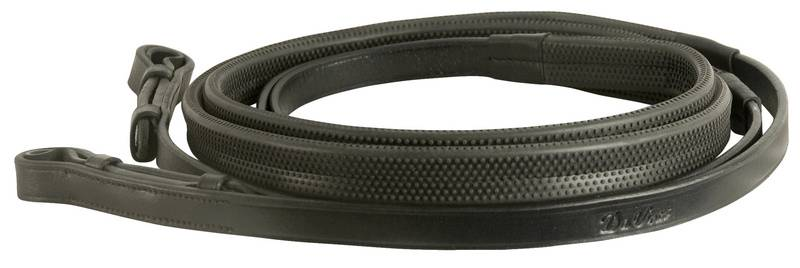 DaVinci Flat Rubber Covered Reins with Hook Stud Ends