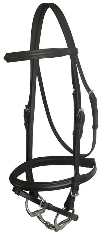 DaVinci Plain Raised Padded Dressage Bridle with Flash less Reins