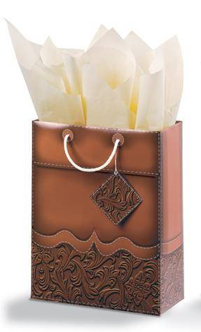 Tooled Leather Vertical Vogue Gift Bag - Brown