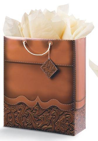 Tooled Leather Super Jumbo Gift bag -Brown