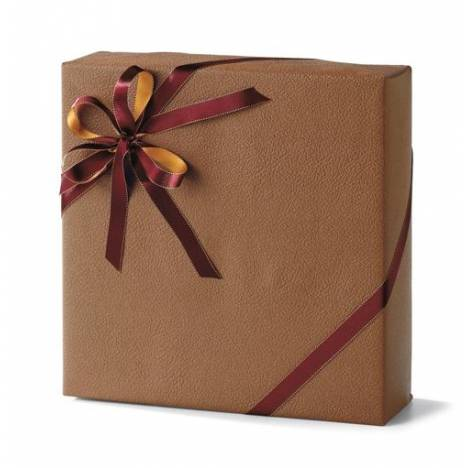 Rolled Gift Wrap, Brown Embossed Leather