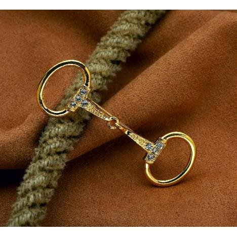Kelley Goldtone & Clear Large Snaffle Bit Pin