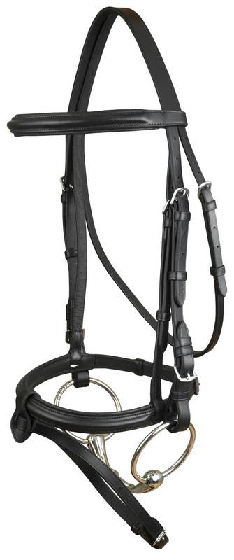DaVinci Plain Raised Padded Event/Dressage Combo Bridle less Reins
