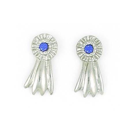 Finishing Touch Large Blue Ribbon Pierced Ear - Silver