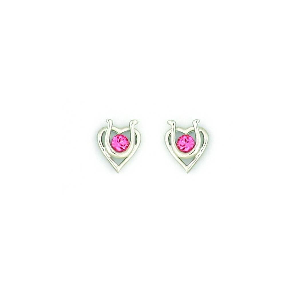 Finishing Touch Heart with Horseshoe Earrings - Pink Swarovski