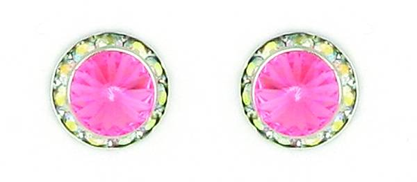 Finishing Touch Rivoli Stone Aurora Borealis Frame Earrings - Light Rose