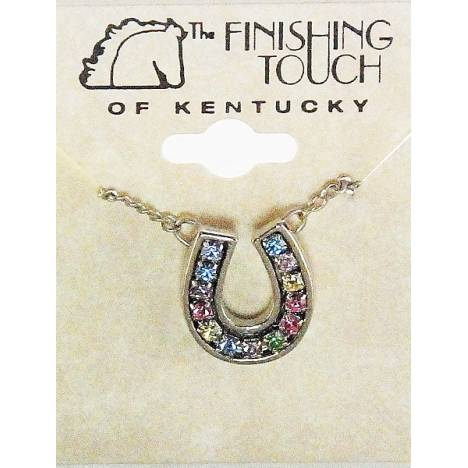 Finishing Touch Pastel Rhinestone Horseshoe Necklace