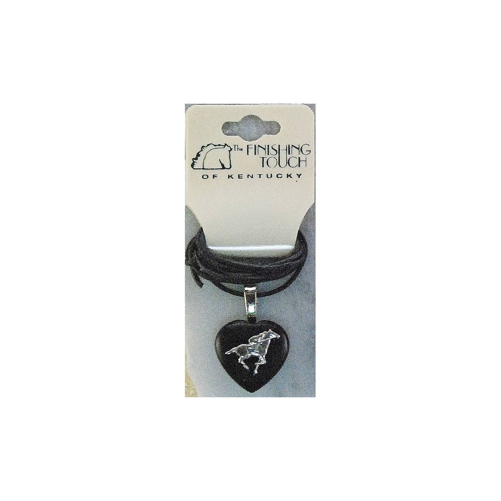 Finishing Touch Black Onyx Puff Heart Necklace - Thoroughbred Racer Motif