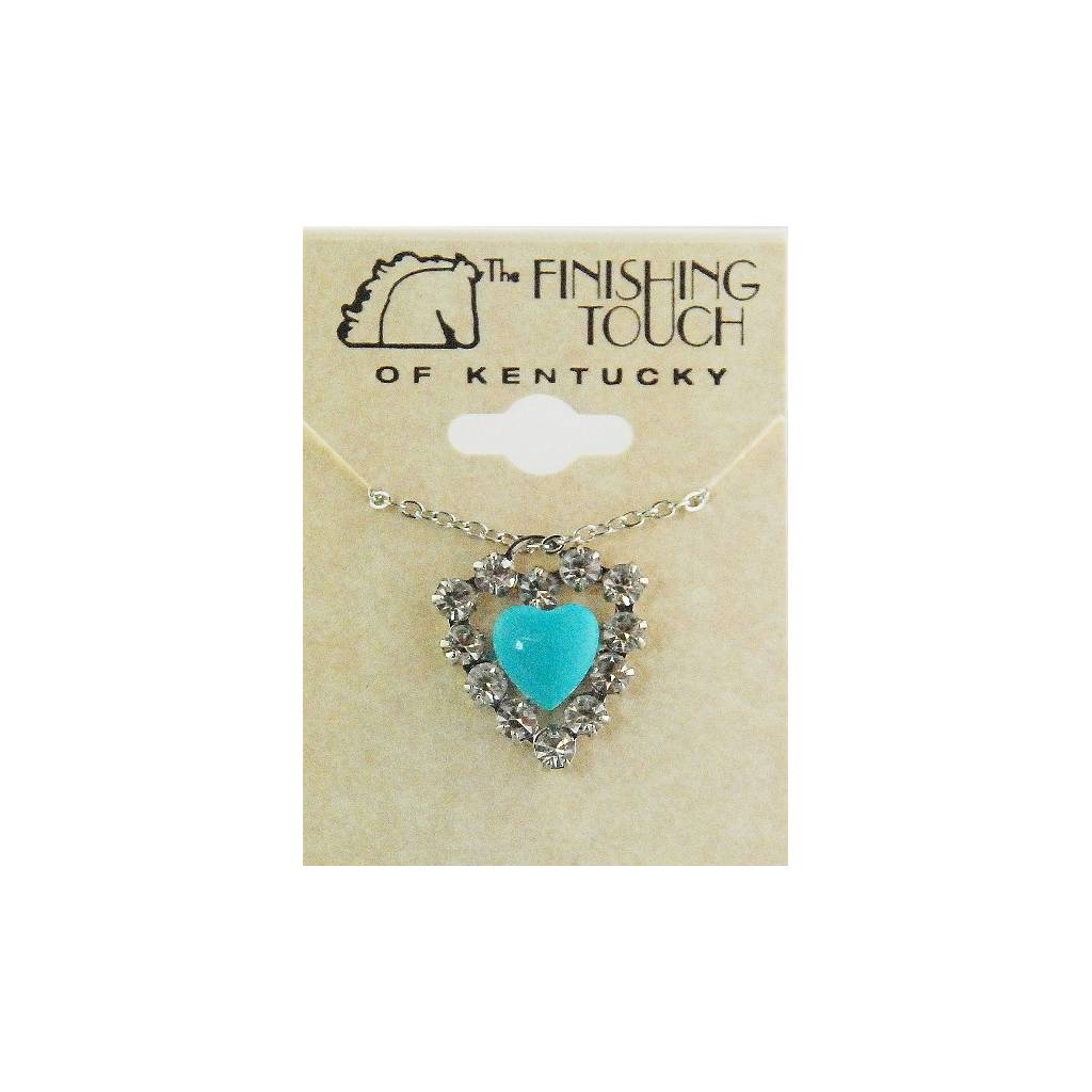 Finishing Touch Turquoise Puff Heart Framed with Swarovski Crystal Heart Necklace