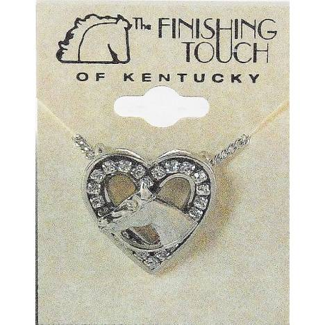 Finishing Touch Horse Head Heart Necklace - Channel-Set Stones