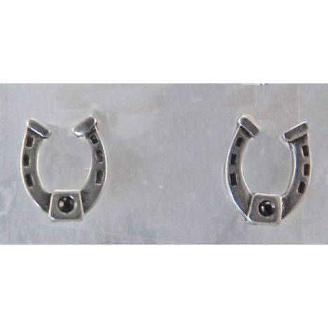 Finishing Touch Horseshoe with Black Stone Post Earrings