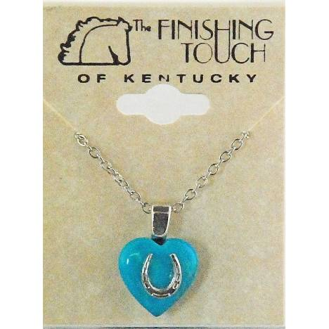 Finishing Touch 12 mm Heart with Horseshoe Necklace - Turquoise Howlite