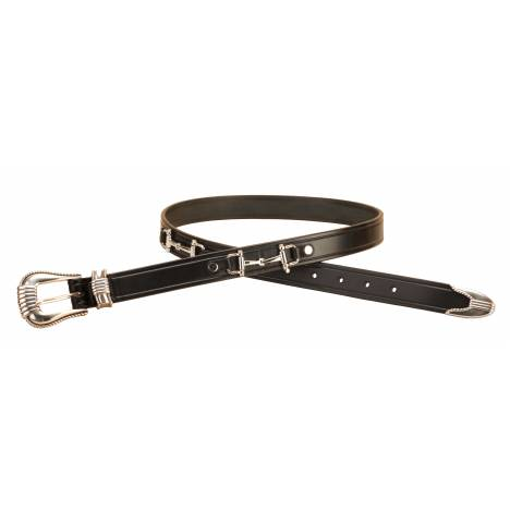 Tory Leather Silver Snaffle Bits Belt & 3-Piece Buckle Set