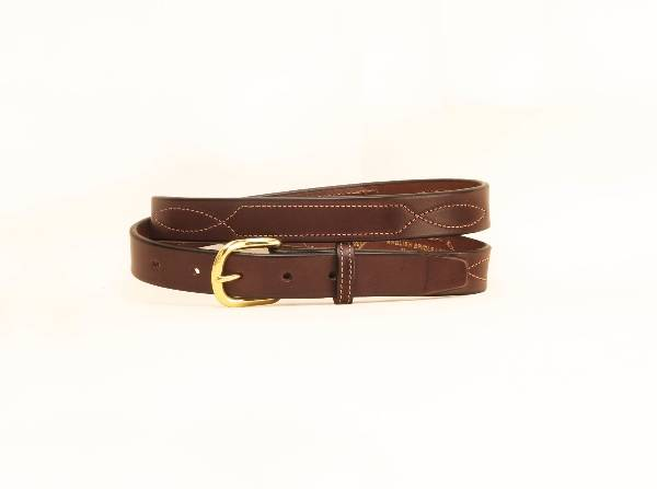 TORY LEATHER 1'' Belt with Stitched Pattern