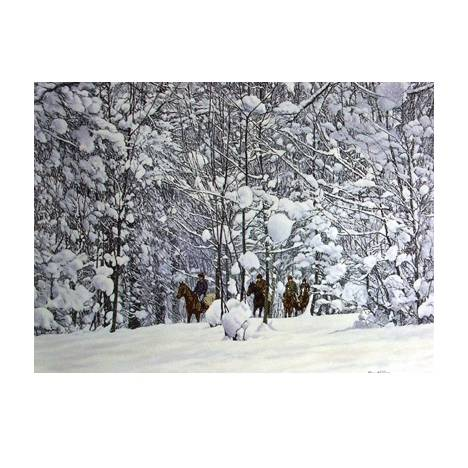 Racehorses in the Snow Blank Greeting Cards - 6 Pack