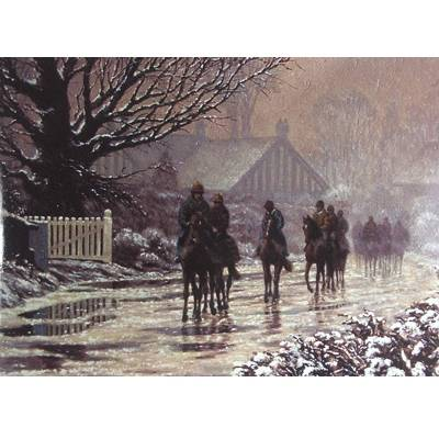 The Thaw Begins (Horse Racing) Blank Greeting Cards - 6 Pack