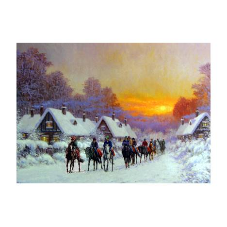 Horse Racing - Morning Glow Blank Greeting Cards - 6 Pack