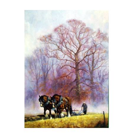 Autumn Furrows (Draft Horse) Blank Greeting Cards - 6 Pack