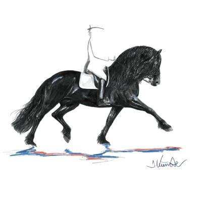 Juwel, Friesan Dressage Art Print by Jan Kunster